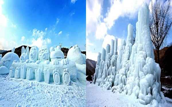 충남 청양 알프스마을의 눈조각과 얼음분수(충남도청 제공)
